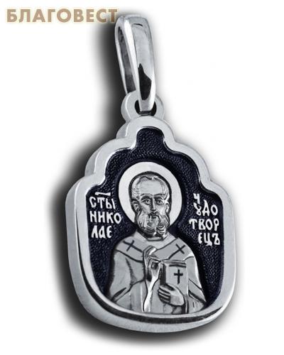 Икона двухсторонняя Святитель Николай Чудотворец, серебро с чернью