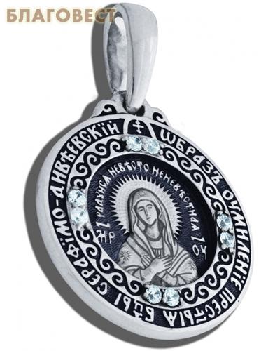 Икона двухсторонняя Пресвятая Богородица Дивеевская (Умиление), серебро с чернью, вставка из 16 бесцветных фианитов