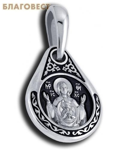 Икона двухсторонняя Пресвятая Богородица Знамение, серебро с чернью (капелька, средняя)
