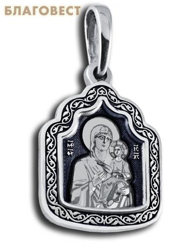 Икона двухсторонняя Пресвятая Богородица Иверская, серебро с чернью