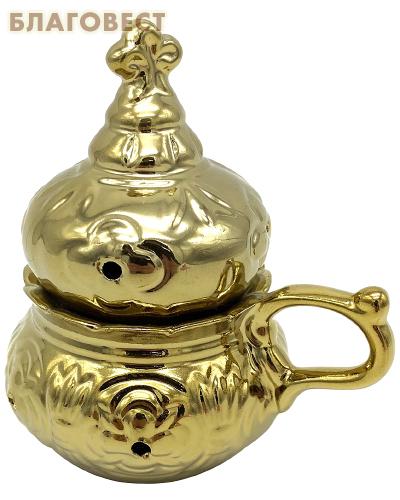 Кадильница настольная, цвет золотой, керамика