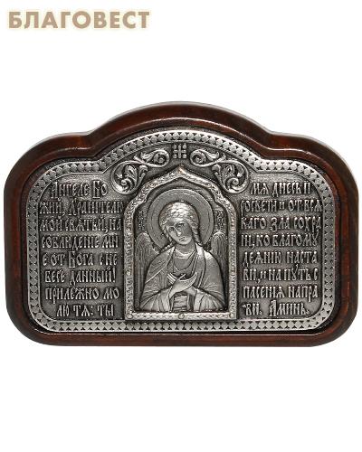 Икона автомобильная  Ангел Хранитель, скотч, дерево (ясень), гальваническое серебрение, размер 9*6,4см