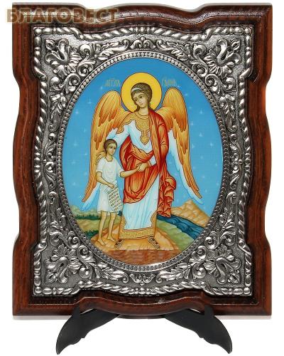 Икона Ангел Хранитель, дерево (ясень), гальваническое серебрение, УФ печать, размер 15*17,5см
