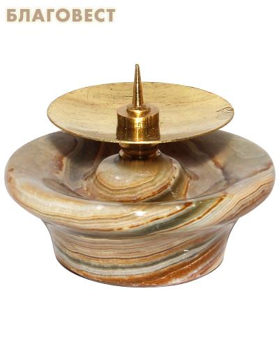 Подсвечник из камня оникс с металлическим наконечником