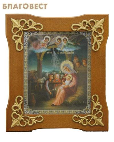 Икона в деревянной рамке Рождество Христово