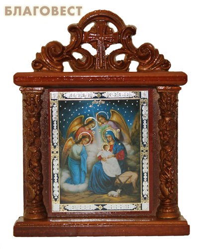 Икона-киот на подставке Рождество Христово с узором
