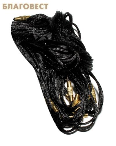 Гайтан шелковый с замком закруткой, черный. Длина 60см, упаковка 10шт