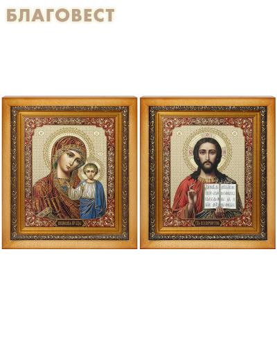 Венчальная пара Икона Спасителя и Казанской Божьей Матери, деревянный киот, багет, стекло