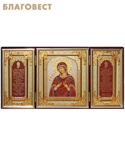 Складень тройной бархатный Пресвятая Богородица