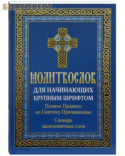 Молитвослов для начинающих крупным шрифтом. Полное Правило ко Святому Причащению. Словарь малопонятных слов