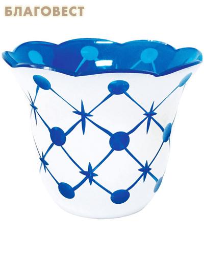 Лампада стеклянная с узором синяя