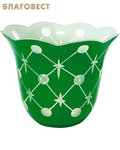 Лампада стеклянная с узором зеленая