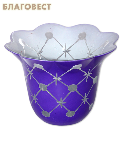 Лампада стеклянная с узором фиолетовая