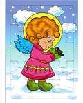 Пазл. Развивающая игра для маленьких. Ангел с птицей в руках. Зима. 15 элементов
