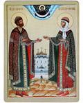 Икона Святые благоверные Петр и Феврония Муромские. Полиграфия, дерево, лак