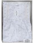 Крестильный набор «Белоснежка» (платье, косынка, пеленка). Возраст 6-24 месяца. Вышитая х/б, вязанное кружево
