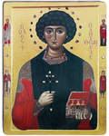 Икона Святой великомученик и целитель Пантелеймон. Полиграфия, дерево, лак
