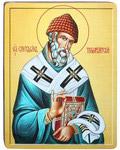 Икона Святитель Спиридон Тримифунтский. Полиграфия, дерево, лак
