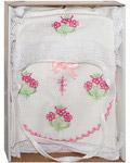 Крестильный набор для девочки от 0 до 6 месяцев (распашонка, пеленка, чепчик). 100% хлопок