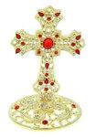 Крест на подставке, золотистый с каменьями