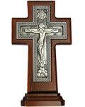Крест гальванический на подставке из ясеня, посеребрение