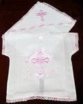 Крестильный набор «Молитва» (рубашка, пеленка). Возраст 0-6 месяцев. Ткань х/б. Машинная вышивка