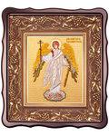 Икона Ангел Хранитель. Вышитая икона в фигурном киоте. Размер изображения 150*180мм