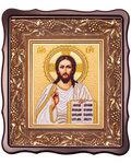 Икона Господь Вседержитель. Вышитая икона в фигурном киоте. Размер изображения 150*180мм