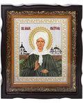Икона Святая блаженная Матрона Московская. Вышитая икона в фигурном киоте. Размер изображения 180*220мм. Багет в ассортименте