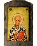 Икона Святитель Николай Чудотворец, на дереве под старину