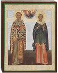 Икона сщмч. Киприан сщмч и Иустина св. мц, аналойная малая