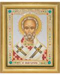Икона Свт. Николай Чудотворец, в багете со стразами в ассортименте