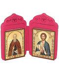 Футляр-складень двойной для 2-х икон (6х8 см), с тиснением  молитв и символов на коже. Цвет малиновый