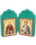 Футляр-складень двойной  для 2-х икон (6х8 см), с тиснением  молитв и символов на коже. Цвет зеленый