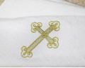 Полотенце махровое для крестин Символ Веры, золотая вышивка
