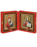 Складень венчальный, красный с крестом