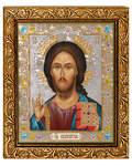 Икона Господь Вседержитель, в багете со стразами