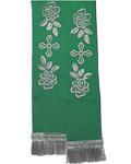 Закладка для Евангелие, габардин, зеленая с серебром, длина 82 см
