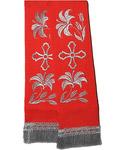 Закладка для Евангелие, габардин, красная с серебром, длина 80 см