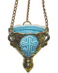 Лампада малая подвесная, голубая с золотом