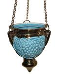Лампада большая подвесная, голубая с золотом
