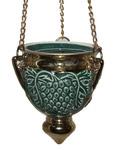 Лампада большая подвесная, зеленая с золотом