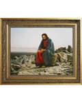 Христос в пустыне. И. Н. Крамской. Репродукция на холсте. Багет (может отличаться от указанного на фото). Размер изображения 350*275 мм
