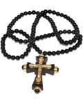 Нательный крест, самшит темный, бусы гагат