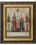 Икона святые Царственные мученики. Киот (узкий), багет, стразы, стекло