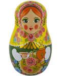 """Шкатулка подарочная """"Матрешка"""" (зеленая). Цейлонский черный крупнолистовой чай с добавлением листьев малины, ягод можжевельника и красной смородины (50г)."""