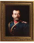Император Николай II. Репродукция на холсте. Багет. Размер изображения 265*355 мм