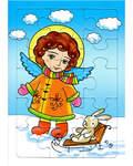 Пазл. Развивающая игра для маленьких. Пазл. Ангел с зайцем в санках. Зима. 15 элементов