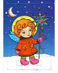 Пазл. Развивающая игра для маленьких. Ангел с вертушкой. Зима. 15 элементов