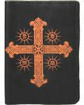 Обложка для паспорта Крест. Цвет черный, слепое тиснение на коже Псалом 90